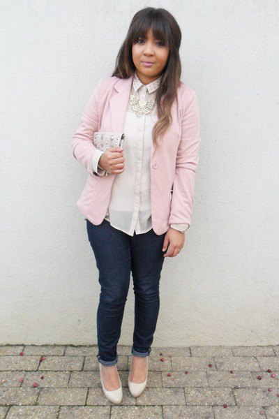 light pink chiffon lace blouse with matching blazer