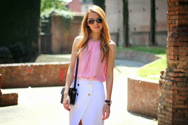 Light pink sleeveless chiffon blouse with white midi wrap skirt