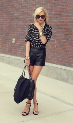 black and blushing pink blouse with half sleeves and leather shorts
