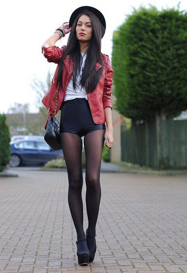 Blazer suede blazer with leather shorts and stockings