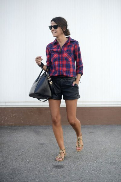 dark blue and red checked boyfriend shirt with black leather shorts
