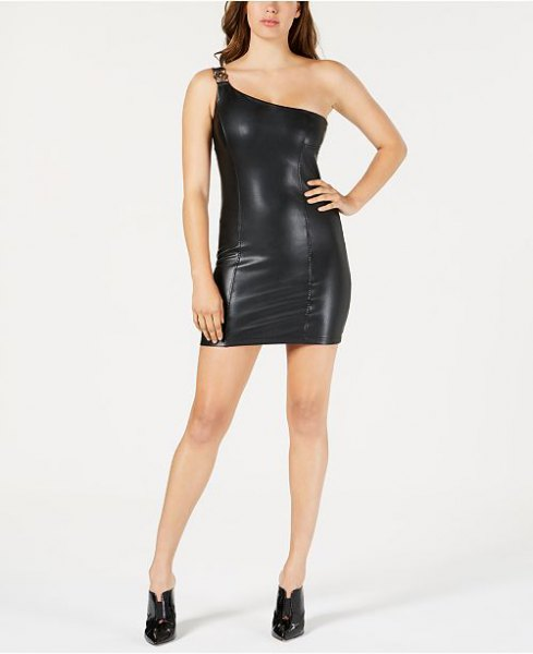black one shoulder mini bodycon faux leather dress