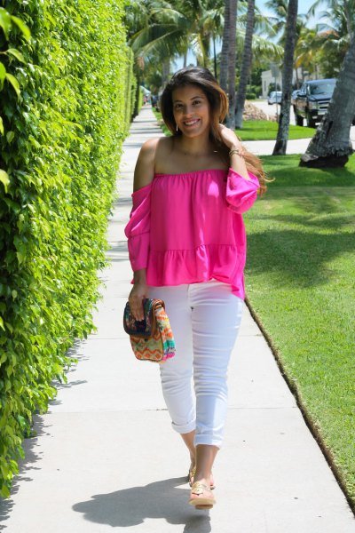 strapless chiffon blouse with white jeans with cuff
