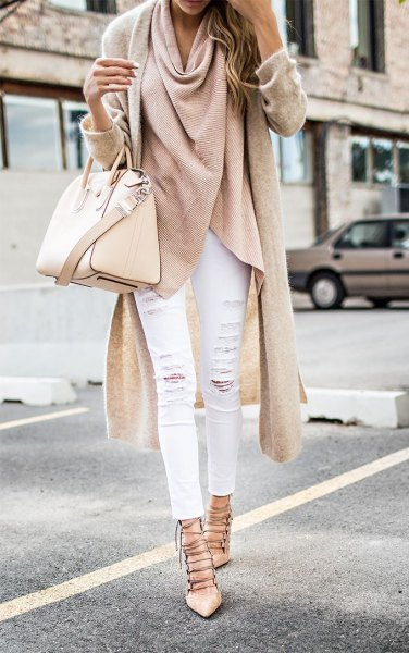 pink wool longline wrap jacket with white jeans and strappy heels