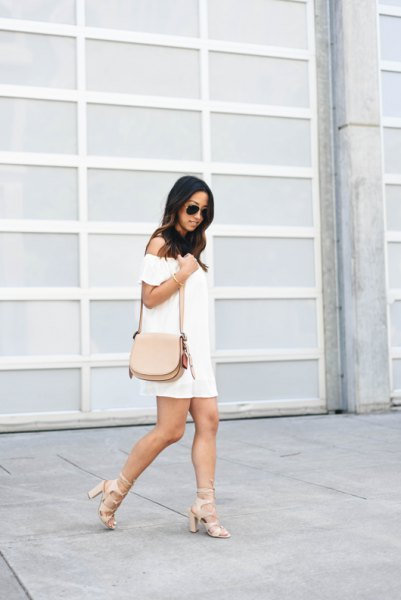strapless mini dress with pink strappy heels