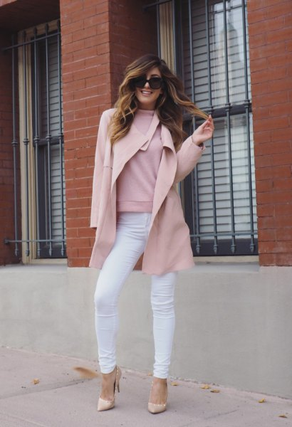 pink wool coat with white skinny jeans and pointed strappy heels