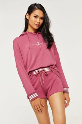 Blushing pink hoodie with matching mini shorts