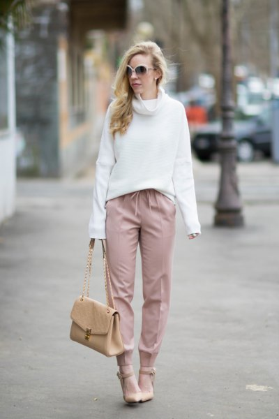 white blazer with matching, cut trousers with wide legs