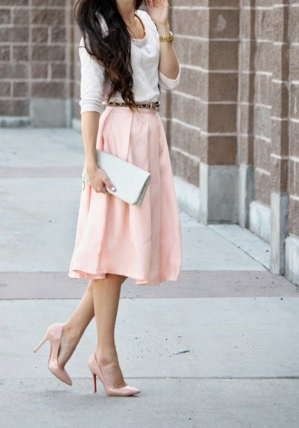 white sweater with light yellow midi skirt and blushing heels