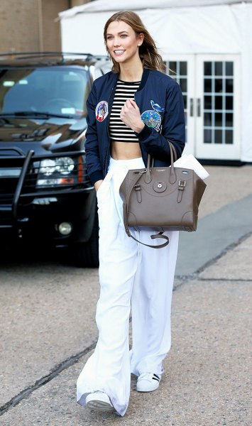 black and white striped short t-shirt with wide-leg trousers