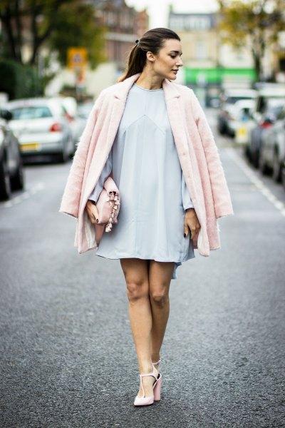 light sky blue swing dress with light pink coat