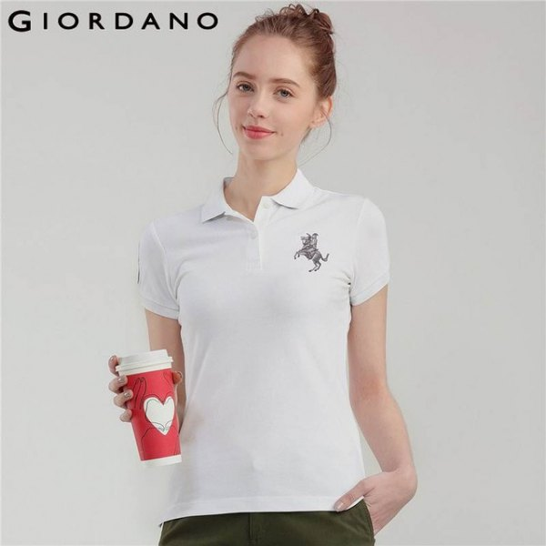 white animal embroidered polo shirt with black trousers