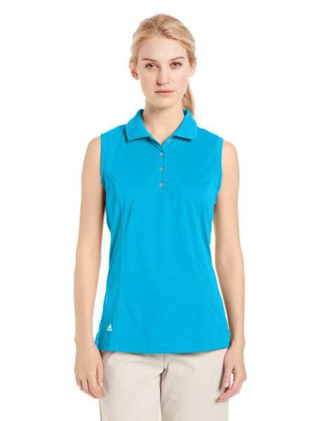 sky blue sleeveless golf shirt with light pink chinos