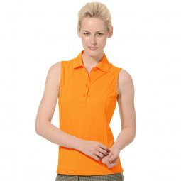 bright orange sleeveless polo shirt with gray striped pants