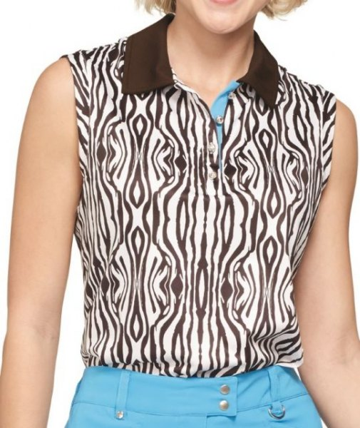 Sleeveless polo shirt with black and white zebra print and sky blue jeans
