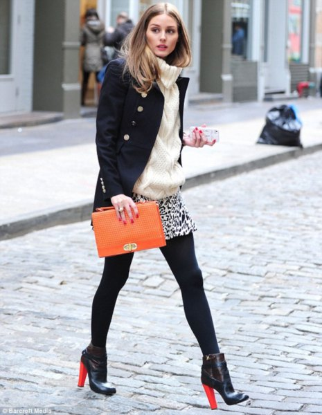 black wool coat with miniskirt with leopard print and brown leather handbag