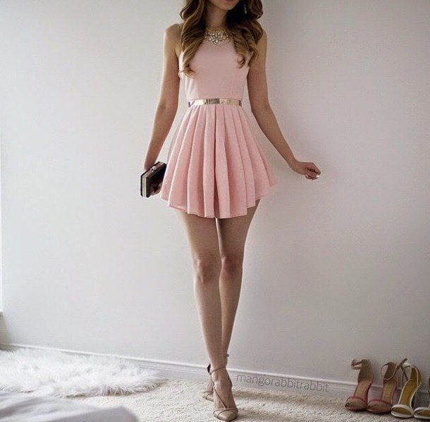 light pink fit and flared, pleated mini dress with black-silver clutch handbag