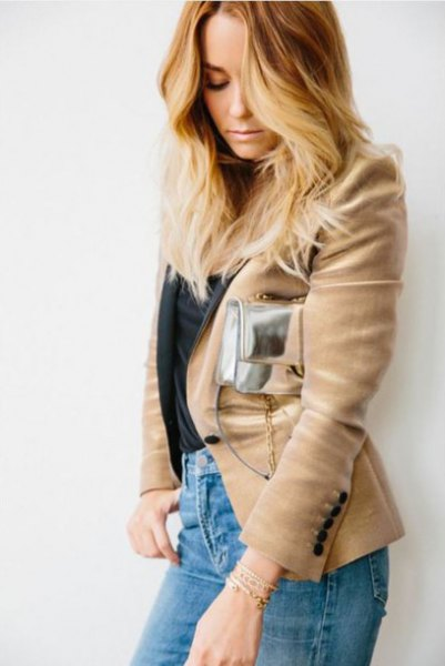 Camel blazer with blue mom jeans and a silver pocket