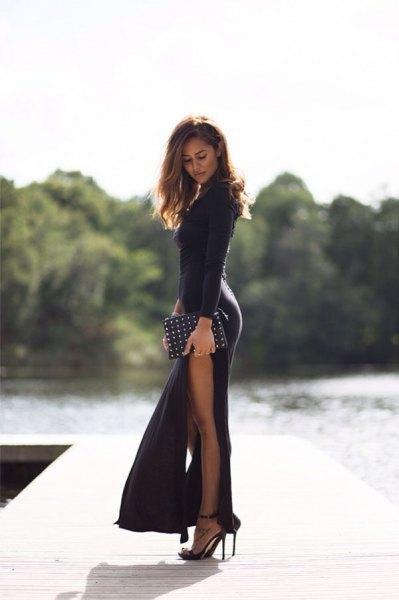 High split bodycon maxi dress with black clutch with studs