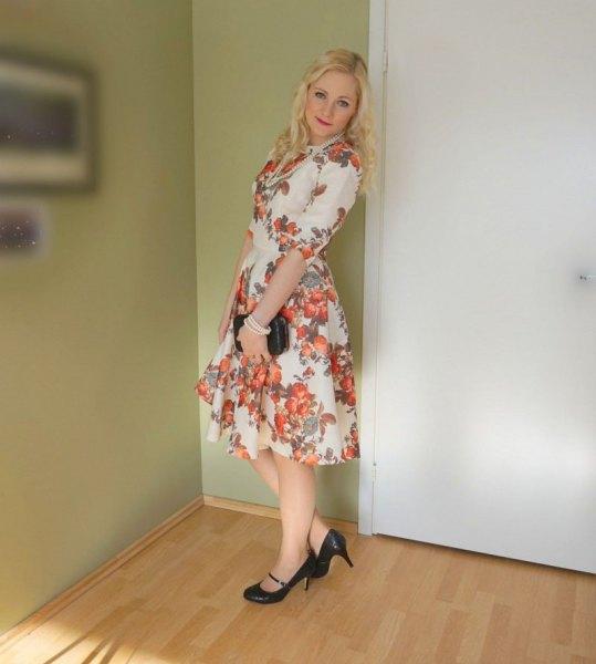 white and blushing pink fit & flare midi chiffon dress with mini clutch