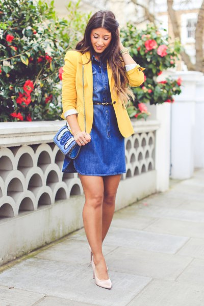yellow blazer with blue jeans dress with belt and jeans pocket