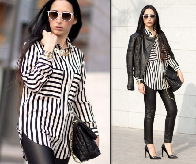 black and white striped blouse with buttons and leather jacket