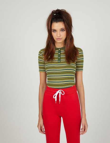 red and yellow collarless striped polo shirt with sweatpants