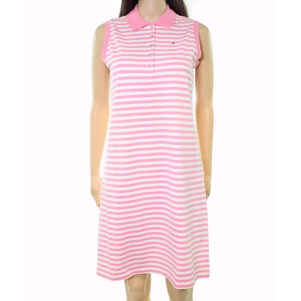 light gray and white striped knee-length polo shirt dress