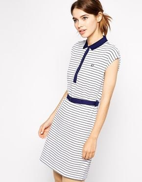 sleeveless and white polo shirt dress in navy and white