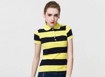 yellow-black wide-striped polo shirt with dark blue skinny jeans