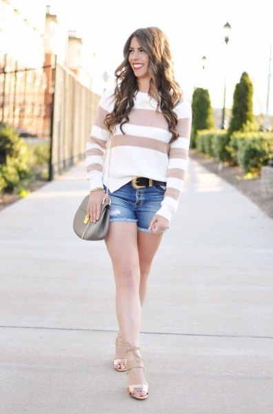 Blush and white, wide-striped sweater with light pink strappy sandals
