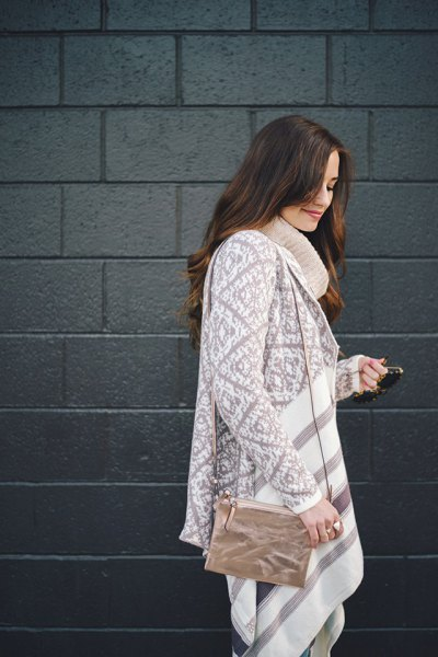 chunky sweater dress with gray and white stand-up collar
