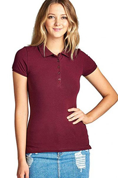 Burgundy slim fit polo shirt with blue denim skirt