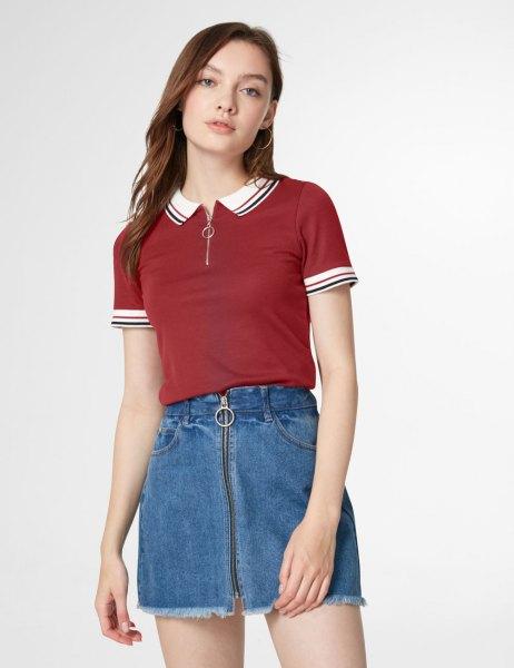 burgundy white short-sleeved polo shirt with collar and blue denim skirt