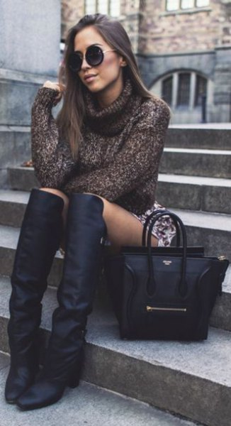 gray turtleneck sweater with printed mini skirt and square toe boots above the knee