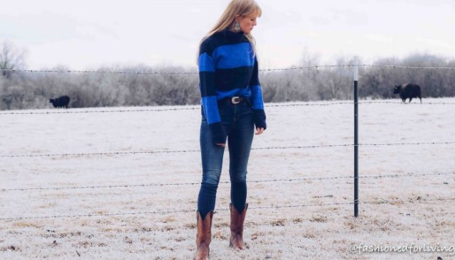 royal blue striped sweater with brown square suede toe boots in the middle of the calf