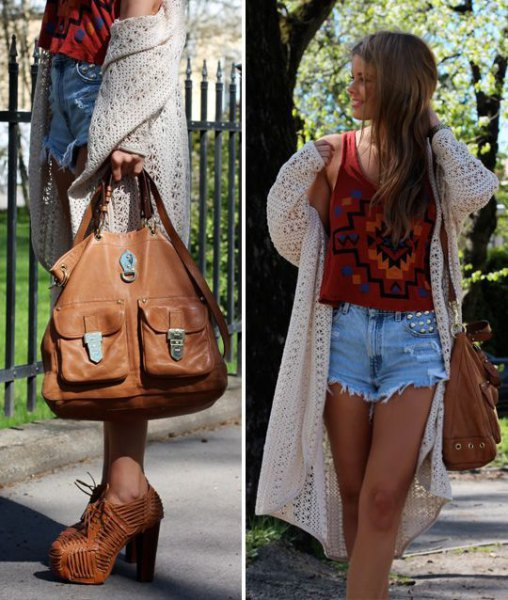 white crochet maxi jacket with red graphic tank top and mom jeans shorts