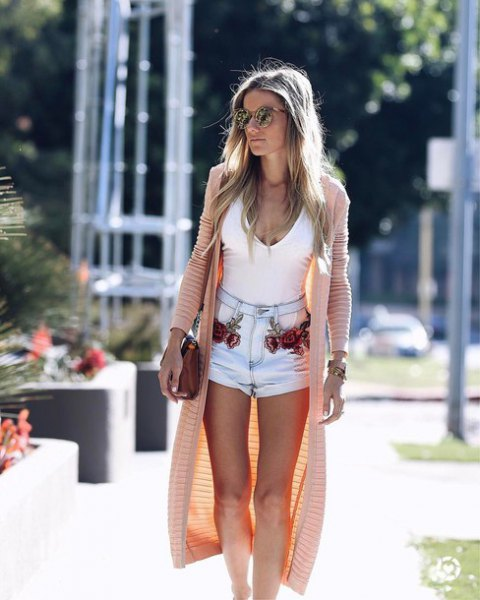 white tank top with cute denim shorts and blushing longline cardigan