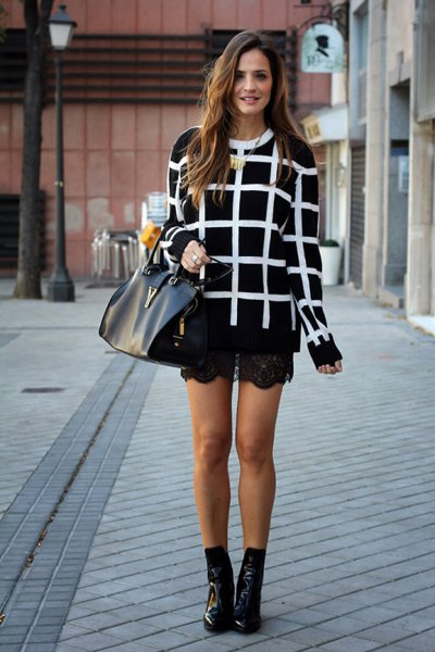 black and white checked sweater with lace shorts and short leather boots