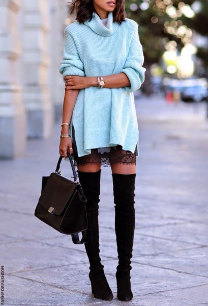 white turtleneck sweater with black lace mini skirt