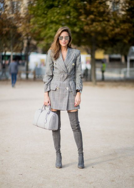 gray plaid blazer dress with thigh-high boots