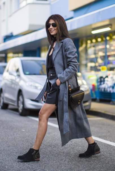 gray longline maxi blazer with black leather skirt and short boots