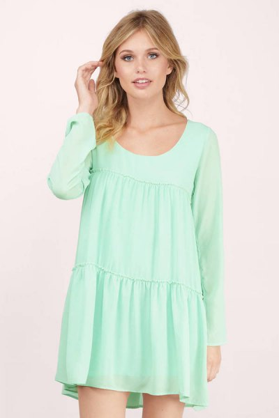 long-sleeved seafoam green babydoll mini dress