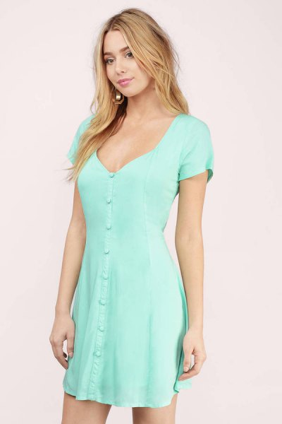 Seafoam Green Deep V-neck short sleeve mini dress with button closure