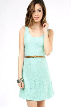 Seafoam green lace dress with belt
