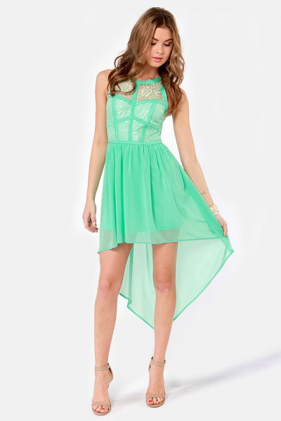 High low seafoam green chiffon mini dress