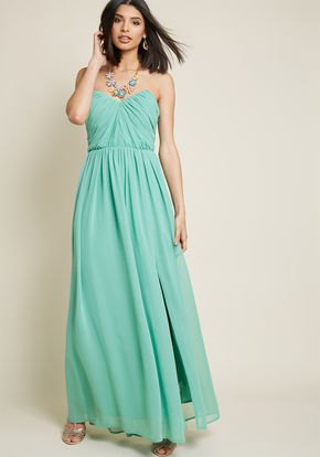 strapless sweetheart neckline with fit and flared maxi chiffon dress
