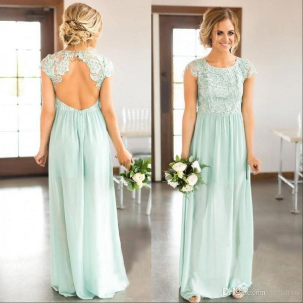 backless, mint green bridesmaid dress in maxi mint with white lace heels