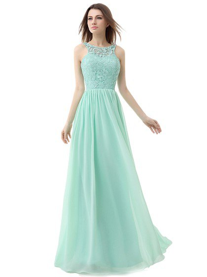 Fit and flare lace and chiffon mint green bridesmaid dress
