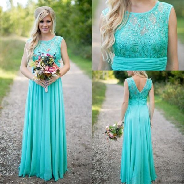 Mint green sleeveless lace and chiffon pleated maxi bridesmaid dress